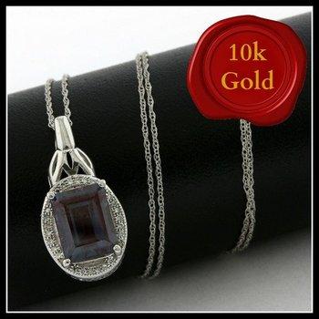 Solid 10k White Gold, 2.13ctw Genuine London Blue Topaz & Genuine Diamonds Necklace