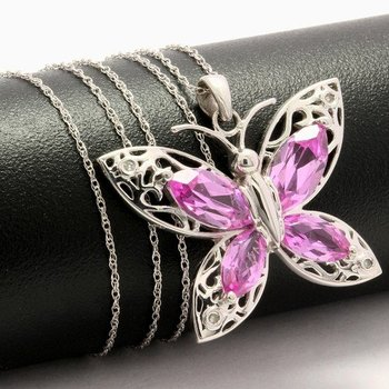Solid 10k White Gold, 2.16ctw Genuine Diamonds & Pink Sapphire Butterfly Necklace