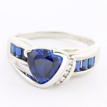 Solid 10k White Gold, 2.25ctw Sapphire & 0.03ctw Genuine Diamond Ring sz 8.25