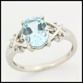 Solid 10k White Gold, 2.54ctw Genuine Diamonds & Aquamarine Ring sz 6