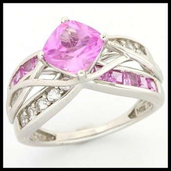 Solid 10k White Gold, 2.60ctw Pink Sapphire & White Topaz Ring sz 6 3/4
