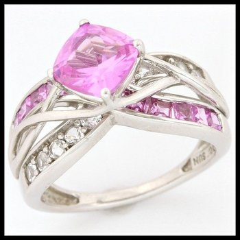 Solid 10k White Gold, 2.60ctw Pink & White Sapphire Ring sz 7