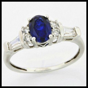 Solid 10k White Gold, 2.75ctw Blue & White Sapphire Ring size 7