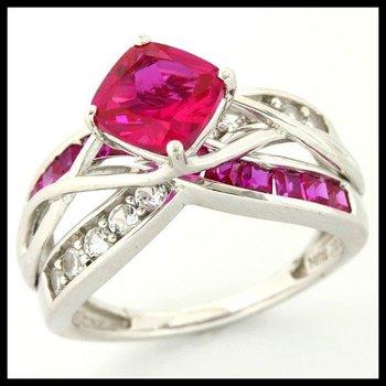 Solid 10k White Gold, 2.95ctw Genuine Red Tourmaline & White Sapphire Ring sz 7