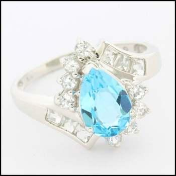 Solid 10k White Gold, 3.00ctw Genuine Blue Topaz & 0.50ctw Genuine White Topaz Ring sz 6