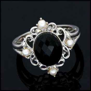 Solid 10k White Gold, 3.0ctw Genuine Black Spinel & 1.5mm White Pearl Ring Size 7