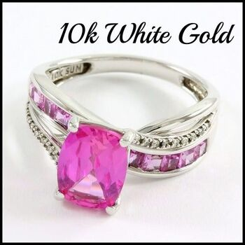 Solid 10K White Gold, 3.25ctw Pink & White Topaz Ring Size 7