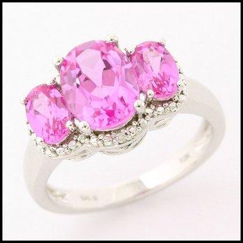 Solid 10k White Gold, 3.50ctw Genuine Pink Topaz & 0.015ctw Genuine Diamond Ring sz 7