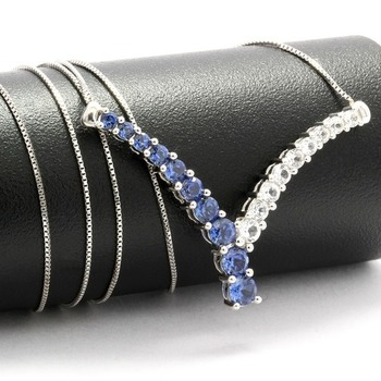 Solid 10k White Gold, 3.60ctw Blue & White Sapphire V Shaped Necklace