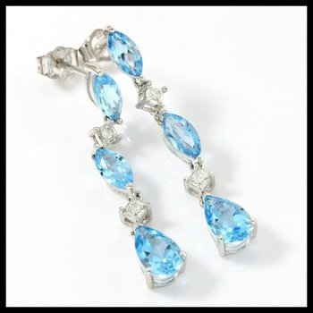 Solid 10k White Gold, 4.55ctw Genuine Blue Topaz & Genuine Diamonds Dangle Earrings