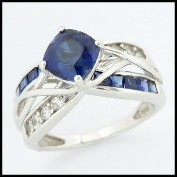 Solid 10k White Gold, 4.95ctw Blue & White Sapphire Ring size 6 3/4