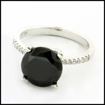 Solid 10k White Gold, 6.50ctw Black Spinel & 0.15ctw White Sapphire Ring Size 7.25