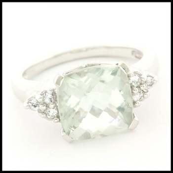 Solid 10k White Gold 6.50ctw Genuine Green Amethyst & 0.20ctw Genuine White Topaz Ring Size 7