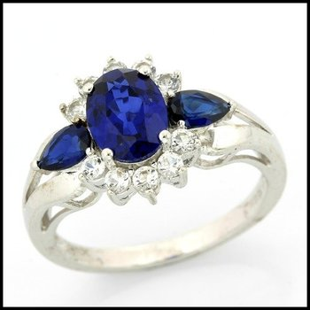 Solid 10k White Gold Blue & White Sapphire Ring Size 7
