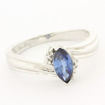 Solid 10k White Gold Genuine Diamond & Beautifully Created Sapphire Ring Size 7
