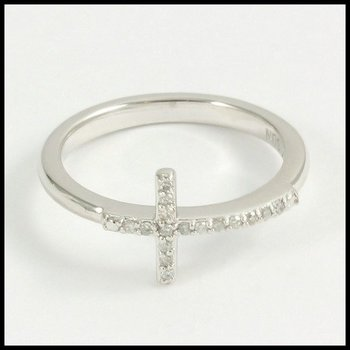 Solid 10k White Gold Genuine Diamond Cross Ring Size 7