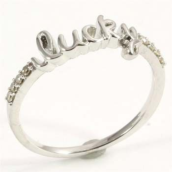 """Solid 10k White Gold Genuine Diamond """"Lucky"""" Ring Size 7"""