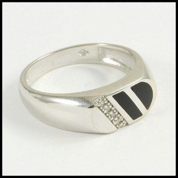 Solid 10k White Gold Genuine Diamond & Onyx Men's Ring Size 10.5