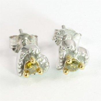 Solid 10k White Gold Genuine Green Diamond Heart Stud Earrings