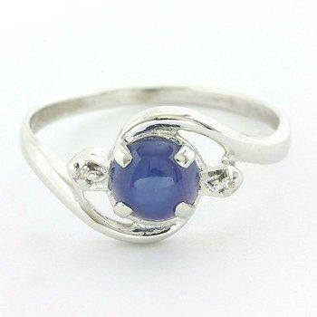 Solid 10k White Gold Genuine Star Sapphire & Diamond Ring Size 7.5