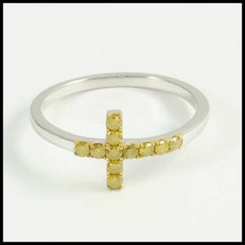 Solid 10k White Gold Genuine Yellow Diamond Cross Ring Size 7