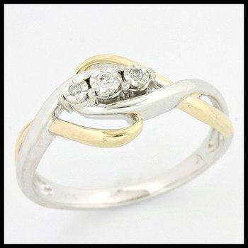 Solid 10k White & Yellow Gold, 0.01ctw Genuine Diamonds Ring size 7 1/4