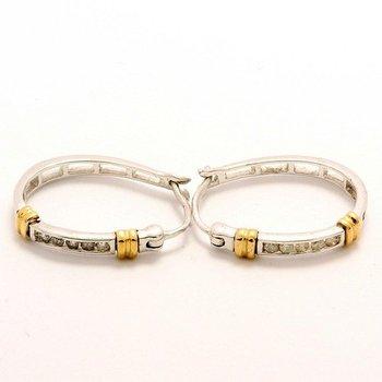 Solid 10k White & Yellow Gold, 0.14ctw Genuine Diamonds Hoop Earrings