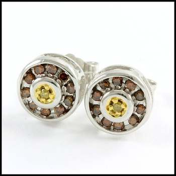 Solid 10k White&Yellow Gold, 0.25ctw Genuine Diamond Stud Earrings