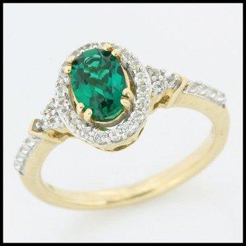 Solid 10k Yelloe Gold Emerald Ring Size 7