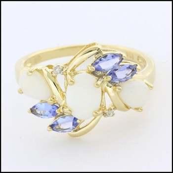 Solid 10k Yellow Gold, 0.01ctw Genuine Diamond & 1.50ctw Opal & 0.50ctw Tanzanite Ring Size 7.25