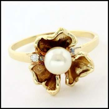Solid 10k Yellow Gold, 0.01ctw Genuine Diamond & 5mm Pearl Ring Size 7