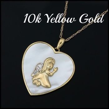 Solid 10k Yellow Gold, 0.01ctw Genuine Diamond & Mother of Pearl Necklace with Heart Shape Pendant