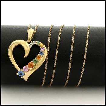Solid 10k Yellow Gold, 0.02ctw Genuine Diamond & 0.50ctw Multi-Color Gemstone Necklace with Heart Shape Pendant