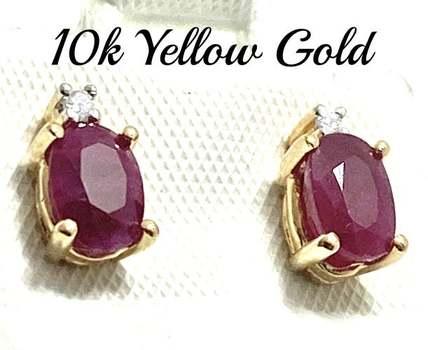 Solid 10k Yellow Gold, 0.02ctw Genuine Diamond & 1.25ctw Ruby Earrings