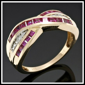 Solid 10k Yellow Gold, 0.02ctw Genuine Diamonds & 1.10ctw Ruby Ring sz 7