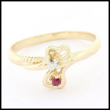 Solid 10k Yellow Gold, 0.02ctw Genuine Ruby & 0.015ctw Genuine Diamond Ring sz 6