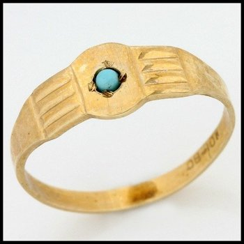 Solid 10k Yellow Gold, 0.02ctw Turquoise Baby Ring sz 0.5