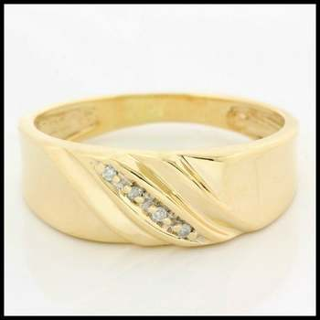 Solid 10k Yellow Gold, 0.038ctw Genuine Diamonds Ring size 9