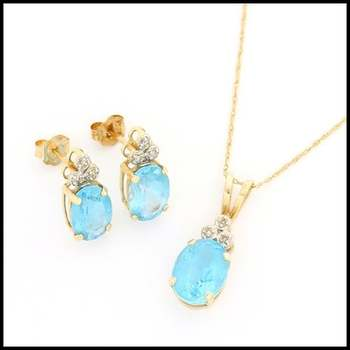 Solid 10k Yellow Gold, 0.03ctw Genuine Diamond & 11.50ctw Blue Topaz Set of Necklace & Earrings