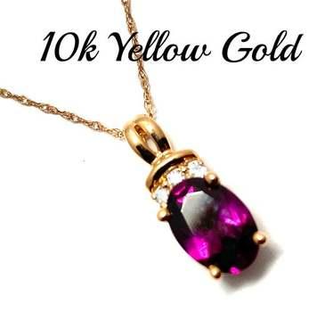 Solid 10k Yellow Gold, 0.03ctw Genuine Diamond & 1.75ctw Rhodolite Garnet Necklace