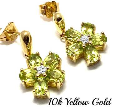 Solid 10k Yellow Gold, 0.03ctw Genuine Diamond & 2.0ctw Peridot Earrings
