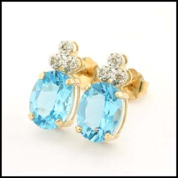 Solid 10k Yellow Gold, 0.03ctw Genuine Diamond & 2.25ctw Blue Topaz Earrings