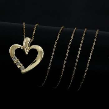 Solid 10k Yellow Gold, 0.03ctw Genuine Diamond Heart Shape Necklace