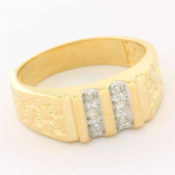 Solid 10k Yellow Gold, 0.03ctw Genuine Diamond Men's Nugget Ring Size 9.75