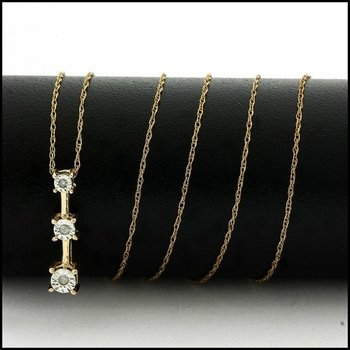 Solid 10k Yellow Gold, 0.03ctw Genuine Diamond Necklace