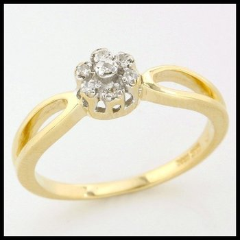 Solid 10k Yellow Gold, 0.045ctw Genuine Diamonds Ring size 6