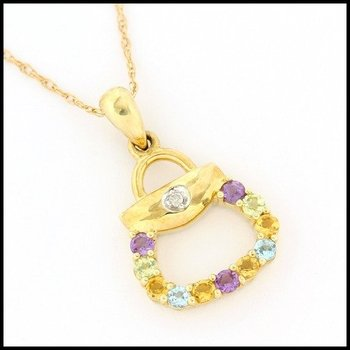 Solid 10k Yellow Gold 0.04ctw Genuine Diamond, 0.30ctw Genuine Amethyst, Peridot, Citrine & Blue Topaz Necklace