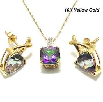 Solid 10k Yellow Gold, 0.04ctw Genuine Diamond & 15.0ctw Mystic Topaz Set