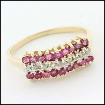 Solid 10k Yellow Gold, 0.05ctw Genuine Diamond & 0.20ctw Ruby Ring Size 7