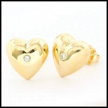 Solid 10k Yellow Gold 0.05ctw Genuine Diamond Heart Shape Earrings